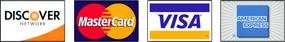 Visa, Master Card, AMEX, Discover