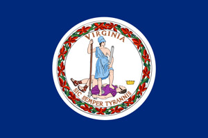 Virginia flag indicating driver improvement course has been approved by the State of Virginia