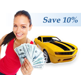 Girl standing in front of car saving money on her New York auto insurance